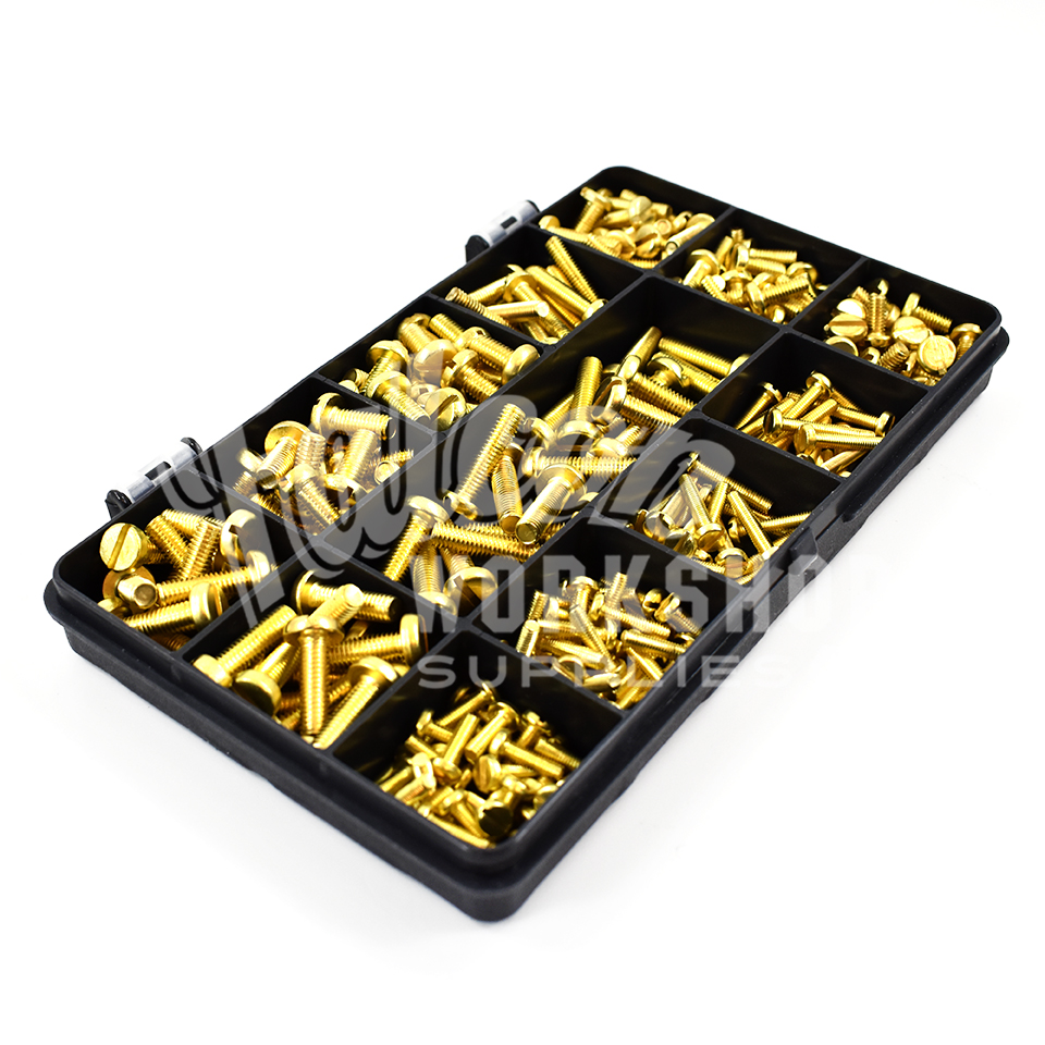 270 Assorted Piece Solid Brass M3 M4 M5 Slotted Pan