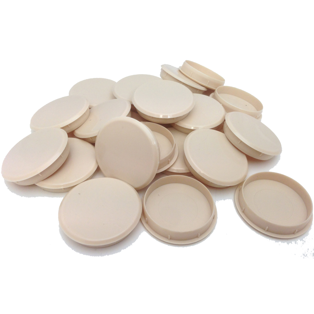 35mm BEIGE PLASTIC HINGE HOLE COVER CAPS FOR KITHCEN CABINET CUPBOARD DOORS