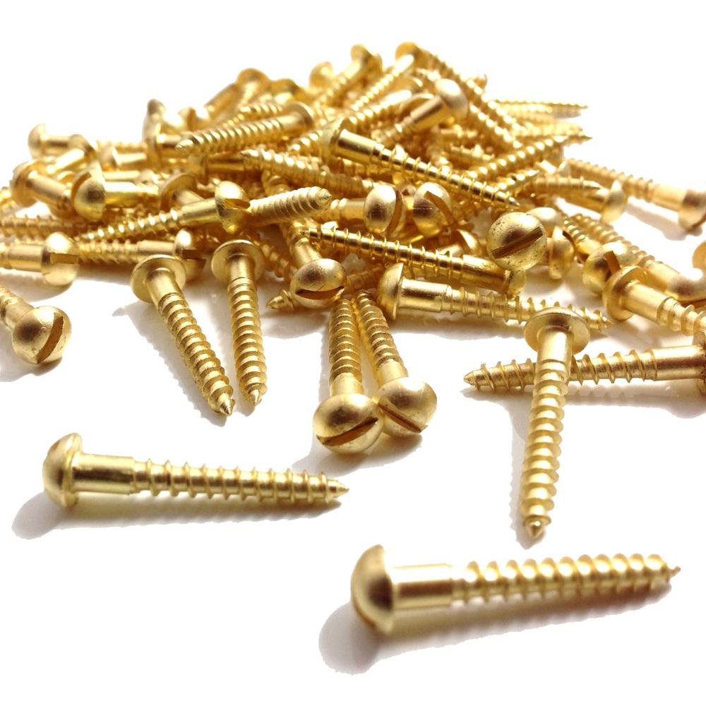 No 8 Solid Brass Slotted Round Head Wood Screw Screws Gauge