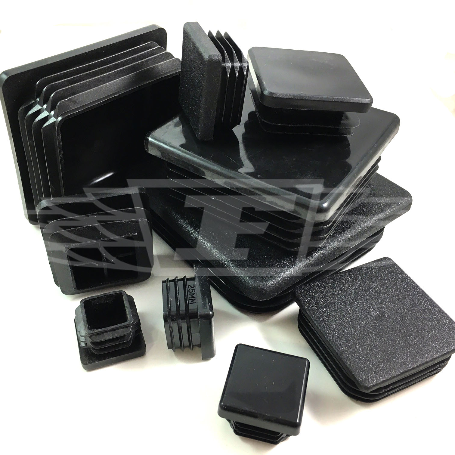 Square plastic black blanking end caps tube pipe insert