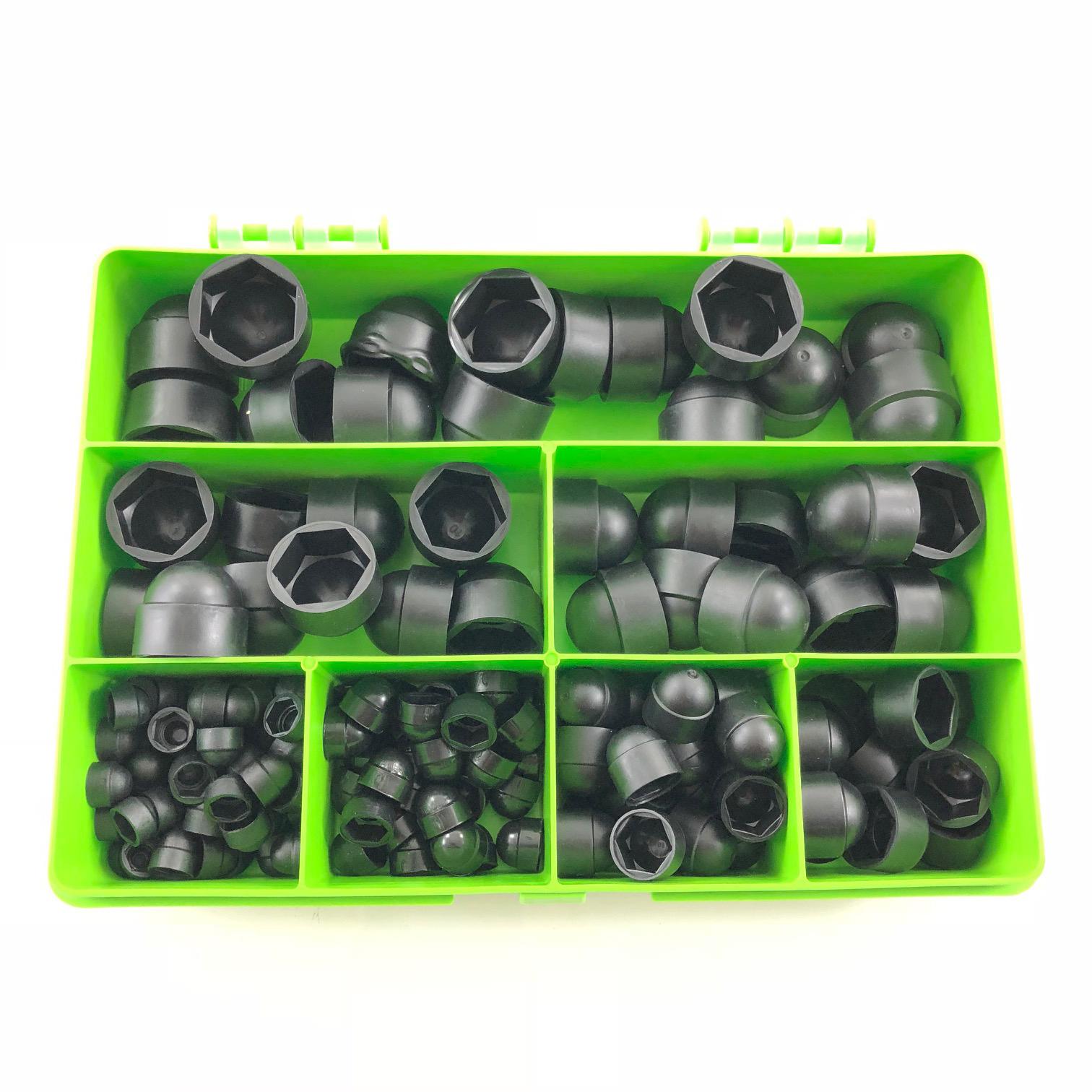 145 ASSORTED PIECE PLASTIC NUT /& BOLT COVERS M4 M5 M6 M8 M10 M12 KIT BLACK