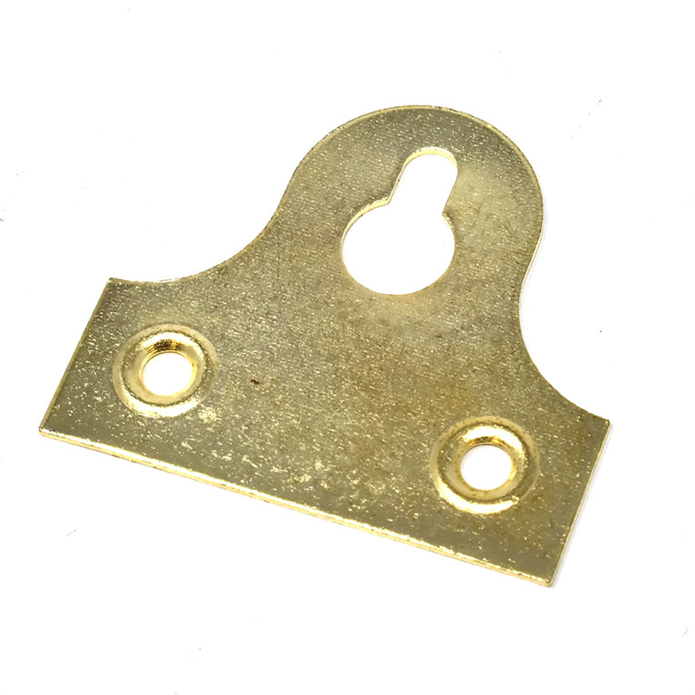 32mm SLOTTED PICTURE MIRROR GLASS PLATES BRASS PLATED SECURE FRAME HANGING KEY